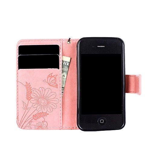 Qiaogle Téléphone Coque - PU Cuir rabat Wallet Housse Case pour Apple iPhone 5 / 5G / 5S / 5SE (4.0 Pouce) - GH13 / Vert GH12 / Pink