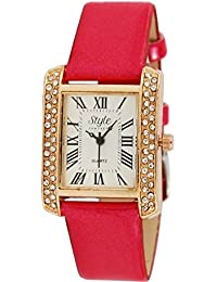 Talgo 2017 New Special Collection Diamond Carter Square Dial Pink Stylish Trending Diamond Pink Leather Watch...