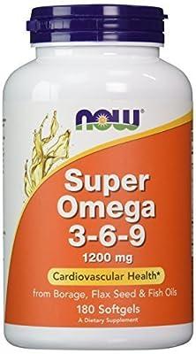 NOW Foods Super Omega 3-6-9 1200mg, 180 Softgels(Size: 180)