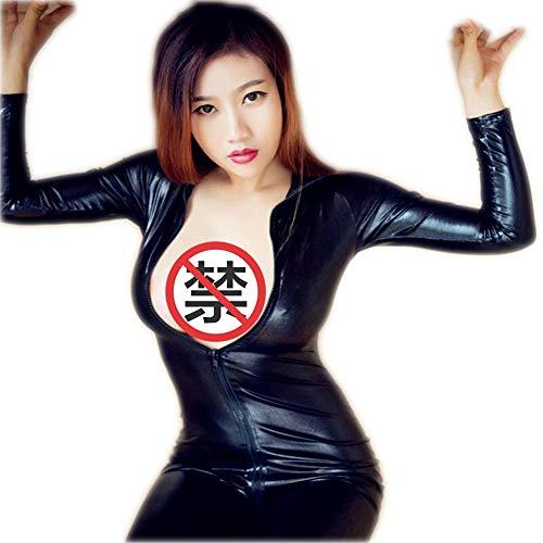 (Top ShishangSexy Lingerie Lacklederstrumpfhose öffnen Gang Overall Anzug Rollenspiel Nachtclub-Serie, schwarz)