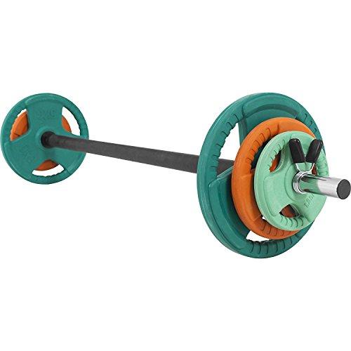 GORILLA SPORTS® Langhantel-Set Aerobic 19,3 kg Gummi Gripper - Langhantelstange, Gewichtsscheiben und Federverschlüsse