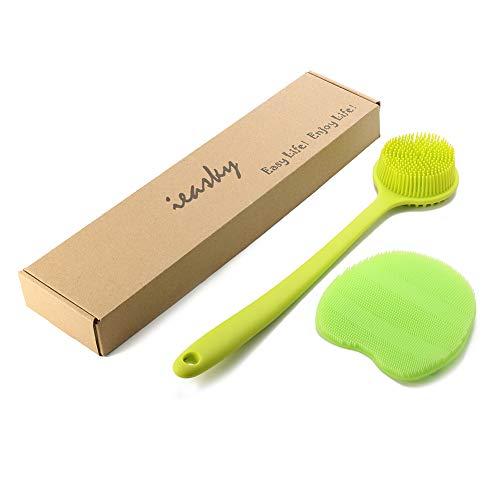 Ieasky Silikon Rückenbürste Massagebürste mit weichen Borsten und langem Griff & Silikon Körper Peeling Handschuh Badebürste Set Kraftvolle Reinigung Geeignet für Empfindliche Haut 2 Stück (Grün)