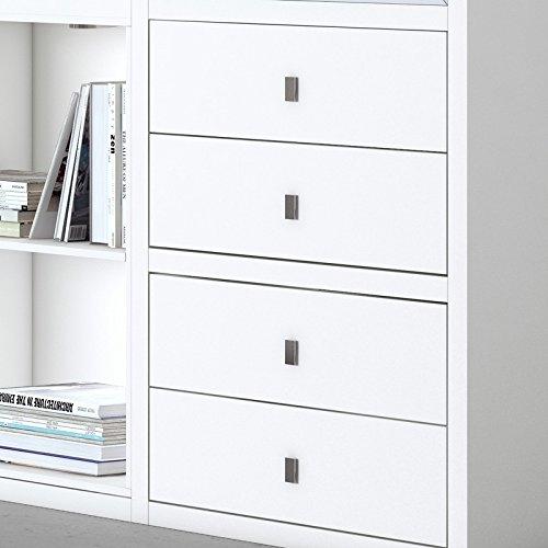 Wohnwand Bücherregal Vitrinenschrank TOLEO238 weiß lackiert - 3