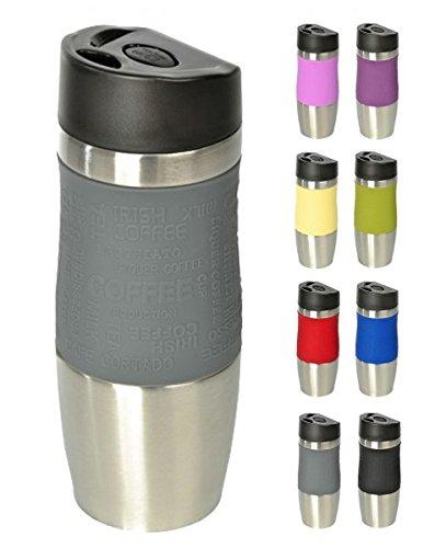 Wellgro® Mug isothermeen acier inoxydable 400ml–Sans BPA–Couleur au choix gris