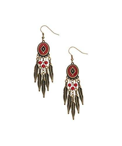 Lux accessori Red & taglio intarsiato brunito-Orecchini pendenti a piuma