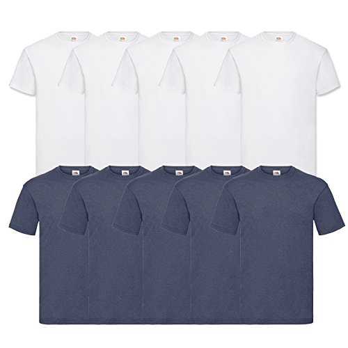 Fruit of the Loom 10 T Shirts Valueweight T Rundhals S M L XL XXL 3XL 4XL 5XL Übergröße Diverse Farbsets auswählbar (M, 5 Weiß/5 Vintage H.Navy)