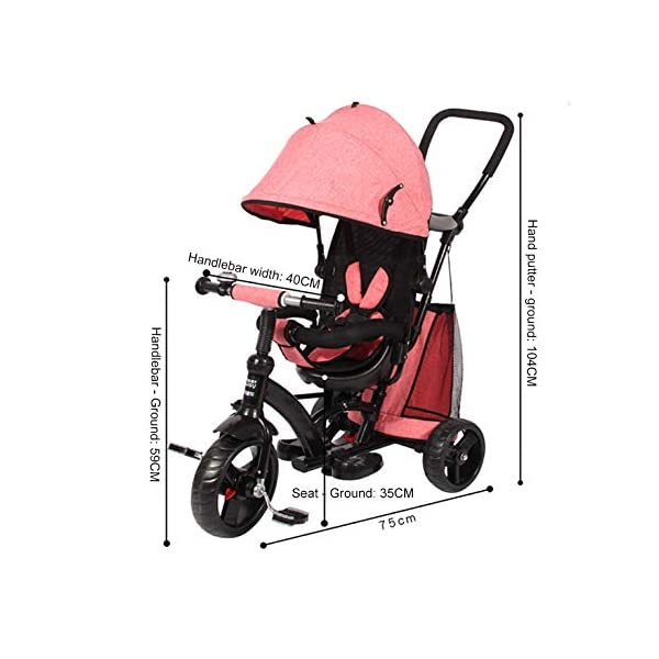 BGHKFF 4 In 1 Children's Hand Push Tricycle 1 To 6 Years 360° Swivelling Saddle 5-Point Safety Belt Children's Pedal Tricycle Adjustable Handle Bar Childrens Tricycles Maximum Weight 25 Kg,Red  ★Material: High carbon steel frame, suitable for children aged 1-6, maximum weight 25 kg ★ 4 in 1 multi-function: can be converted into a stroller and a tricycle. Remove the hand putter and awning, and the guardrail as a tricycle. ★Safety design: Golden triangle structure, safe and stable; front wheel clutch, will not hit the baby's foot; 5-point seat belt + guardrail; rear wheel double brake 6