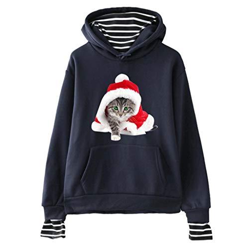 VEMOW Katze Gedruckt Kapuzenpullover für Weihnachten Damen Langarm Sweatshirt Hoodie Top Streetwear Gestreifte Naht Gefälschte Zweiteilige Frauen Karneval Oberteil