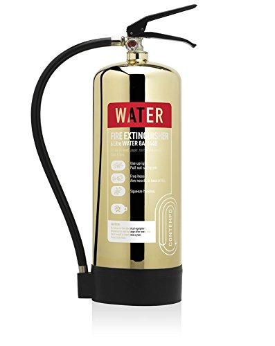 Designer-Gold poliert 6Liter Wasser Feuerlöscher. CE. Ideal für Luxus Büros, Geschäften, Hotels, Restaurants und-sensiblen Bereichen.
