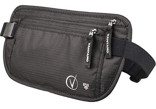 Bauchtasche Flach, Sicherheitstasche RFID-geschützt, passend für Reisepass mit Abdeckung, inkl. Global Recovery Tags (Klassisches Schwarz)