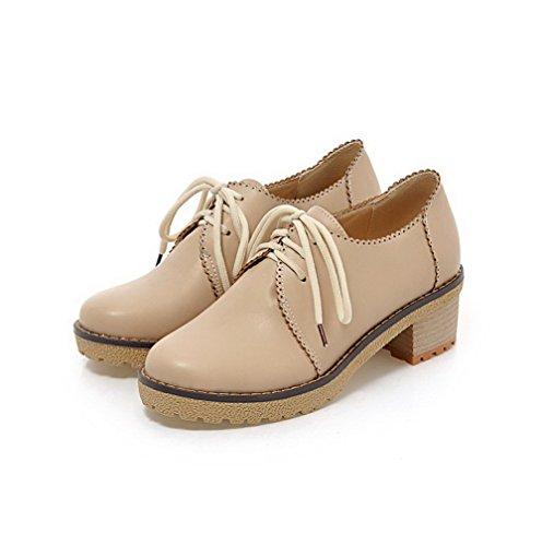Damen Schnüren Mittler Absatz PU Leder Rein Rund Zehe Pumps Schuhe, Cremefarben, 37 AllhqFashion