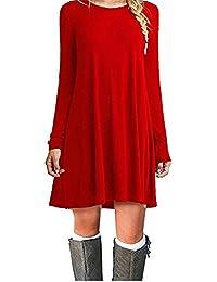ZNYSTAR Mujer Otoño de Camiseta Suelto Casual Cuello Redondo Manga Larga Vestidos
