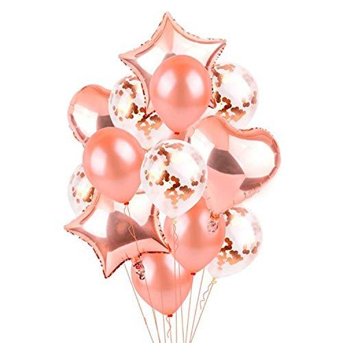 YHmall 14 Piezas Globos de Oro Rosa Globos de Confeti Globo de la Hoja Estrella del corazón para la Fiesta de cumpleaños Deco de la Fiesta de Bodas, 12 Pulgadas 18 Pulgadas