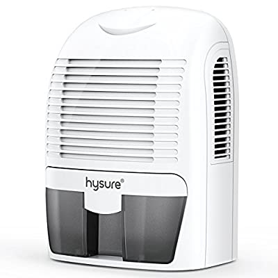 hysure 1500ml Electric Dehumidifier, Removes Humidity 550ml per day, 1500ml Detachable Water Tank, LED Indicator, Automatic, Efficient, Portable, Quiet, No Need Refill