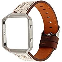 squarex Fashion Retro Lederband Ersatz Armband & Rahmen Halterung Shell für Fitbit Blaze