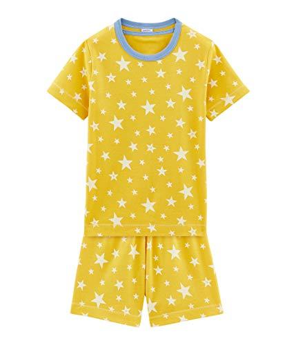 Petit Bateau Aisv Tee S Ensemble de Pyjama, Jaune (Honey/Marshmallow 01), 6 Ans (Taille Fabricant: 6A) Garço