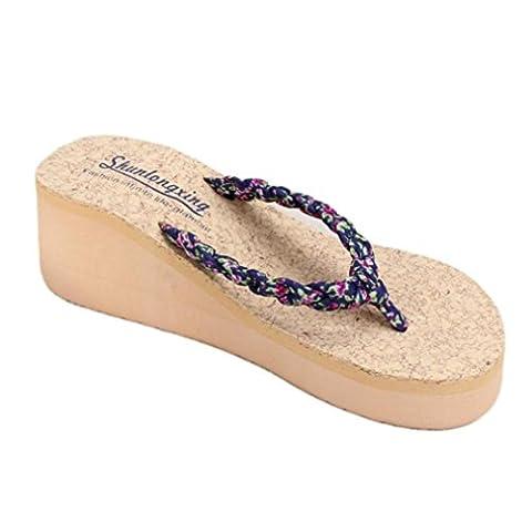 OVERMAL Summer Bohemia doux Floral Tongs Sandales clip Toe Sandals
