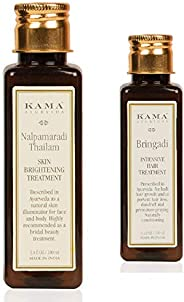 Kama Ayurveda Nalpamaradi Skin Brightening Treatment, 100ml + Bringadi Intensive Hair Treatment, 100ml (Hair & Face Combo)
