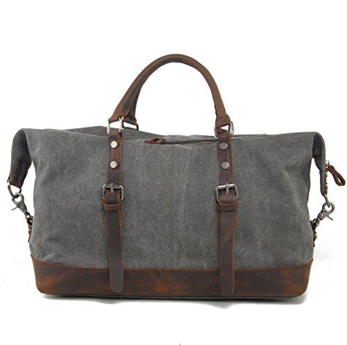 Herren Qualität Canvas & echtes Leder Reisetasche Crossbody Organiser Weekender Satchel Bag Totes Handtasche Schultertasche Carry On Tasche 17.7