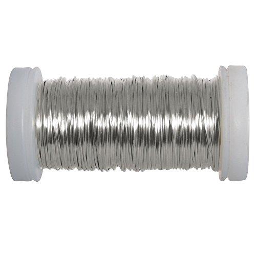 Rayher Hobby 24078000 Silberdraht, Spule, 50 m, 0,5 mm ø - 1/2 Spule
