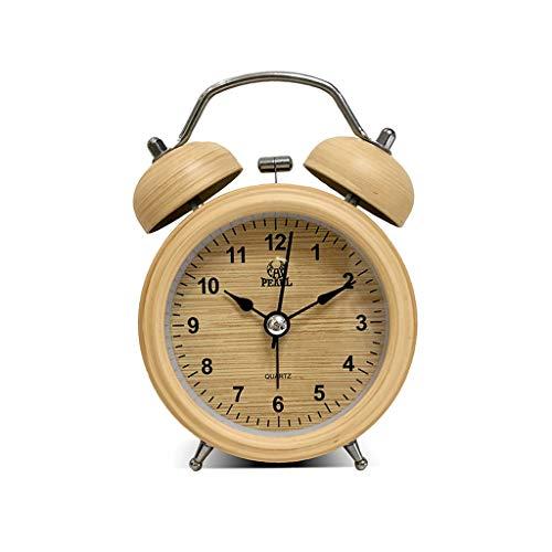 Despertador JXLBB 3 Pulgadas de Metal Shell Dobles Ling Alarm Clock Lazy Night Light Alarm Clock Estudiante...