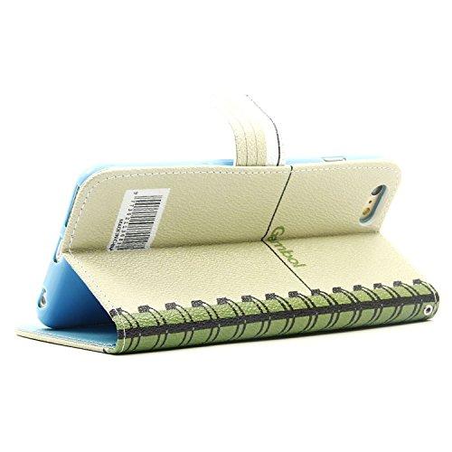 MOONCASE iPhone 6S Bookstyle Custodia [Foglie di banana] Portafoglio Protettiva in pelle Flip Cover Stand Case per iPhone 6 6S 4.7 Taccuino