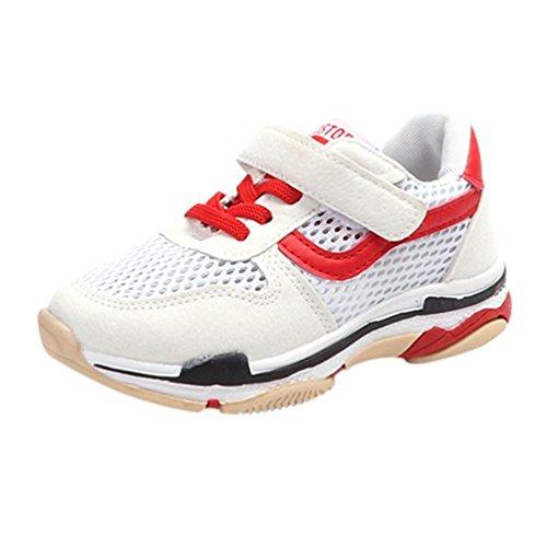 FNKDOR Turnschuhe Jungen Mädchen Sport Schuhe Kinderschuhe Sneaker Laufschuhe Wanderschuhe Unisex Kinder (31, Weiß)