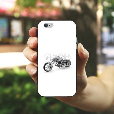 Apple iPhone 5s Housse étui coque protection Moto Housse en silicone noir / blanc