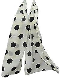 Cream with Black spots polka dots Celebrity Fashion Shawl Scarf 160cm x 48cm Posted by Fat-Catz