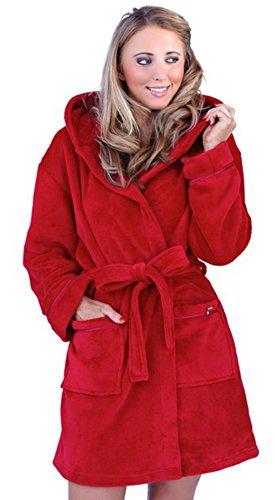 VB © pour femme à capuche en polaire douillette Corel Peignoir ultra-chaud et confortable, très Bazaar (TM) Rouge