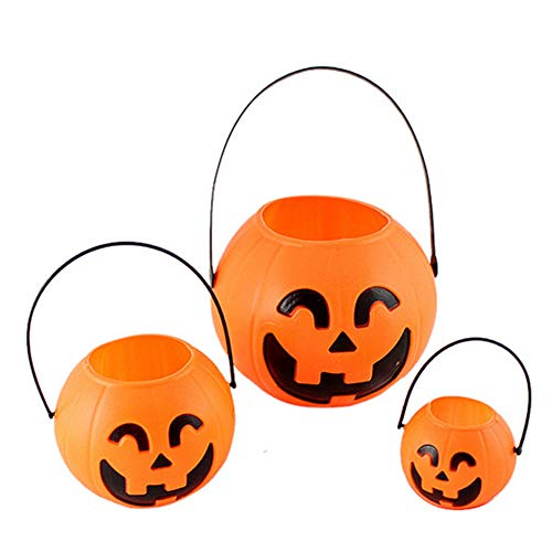ruikey Halloween Kunststoff Candy Kürbis Eimer Trick or Treat Candy Topflappen Party Beute Tasche Füllstoffe Dekoration für Bar Home, plastik, Orange#4, Diameter 7/11/14cm