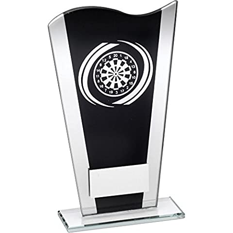 Black & Silver Printed Glass Plaque With Silver Darts Swirl