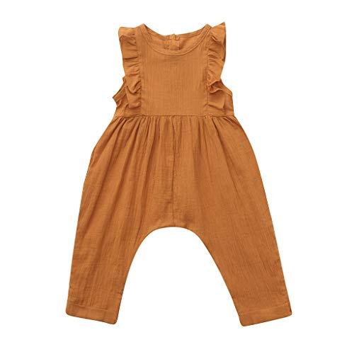 Pwtchenty Bonbonfarbene Unifarbene Robe RüSchen Spitze Spielanzug FüR MäDchen Bekleidungs Set Ärmelloses Baby Strampler Overall