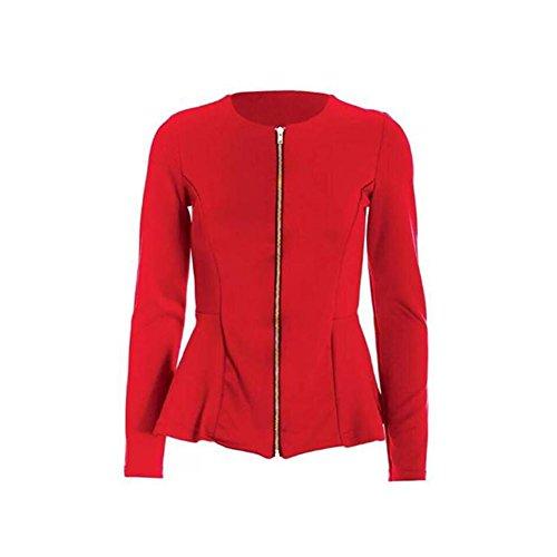 Signore con Zip jacket / Blazer con peplo hem Rosso
