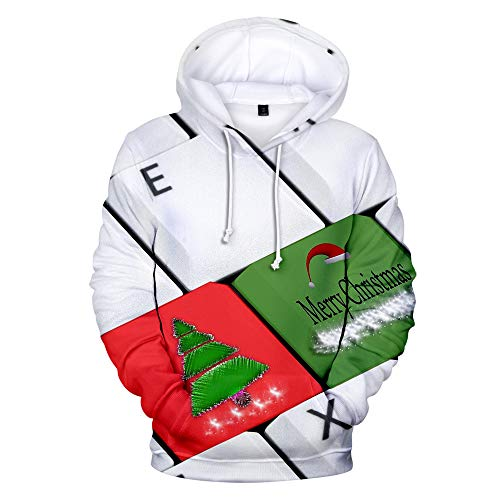 cxzas852 Mens Casual Winter Herbst Weihnachten Schneemann 3D Printed Weihnachten Pullover Langarm Kapuze Sportswear Plus Size Sweatshirt Tops Casual Party Bluse