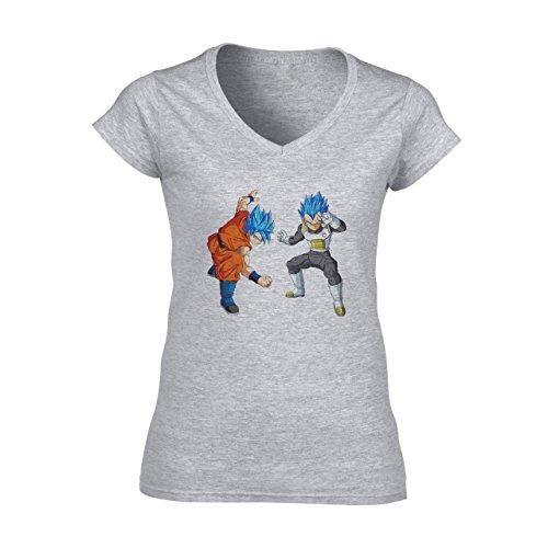 Dragon Ball Super Goku Vegeta SSJ God Damen V-Neck T-Shirt Grau