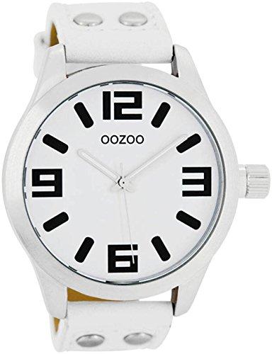Oozoo Damenuhr mit Lederband 46 MM Weiss/Weiss C1050