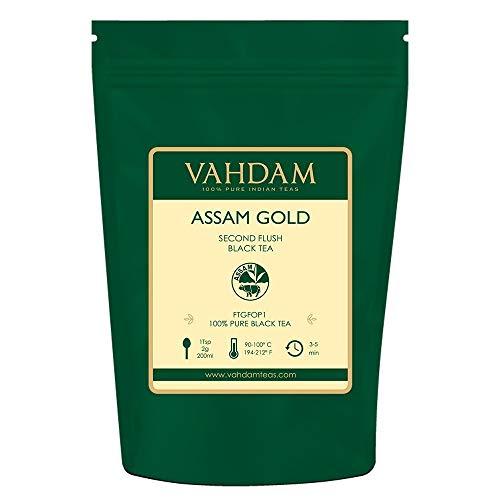 VAHDAM, Assam Gold Second Flush (50 Tassen) | RICH & MALTY ASSAM TEE Loose Leaf | 100% REINER UNVERGLEICHTER Schwarzer Tee Loose Leaf | Schwarze Teeblätter mit GOLDENEN TIPS | 100gr