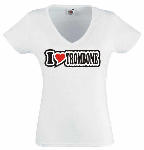 T-Shirt Damen - I Love Heart - V-Ausschnitt I LOVE TROMBONE Weiß