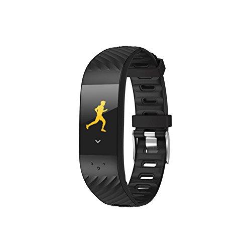 P4Colorful Touch Screen Smart Armband Fitness Tracker mit Activity Tracker Herzfrequenz Monitor Schritt Kalorienzähler Schrittzähler Blutdruckmessung IP67Wasserdicht Bluetooth Smart Uhren Colourfull S, Schwarz