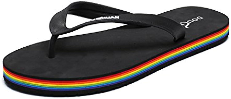 Zapatillas De Verano Hombre Sandalias Arco Iris Versión Masculina De Sandalias Antideslizantes,Black,42