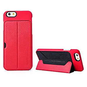 REMAX International Creative Series Leather Back Cover Magnetic Stand Case for Apple iPhone 4.7in (Deep Red)