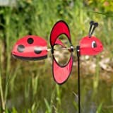 Windspiel - Little Magic Ladybird - UV-beständig und wetterfest - Windrad: Ø28cm, Motiv: 35x13cm, Gesamthöhe: 85cm - inkl. Fiberglasstab (Ladybird)