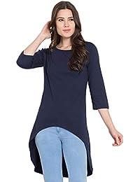 8fa749020fda4b American-Elm Navy Blue Long Tshirt for Women Round Neck Cotton Top Tshirt