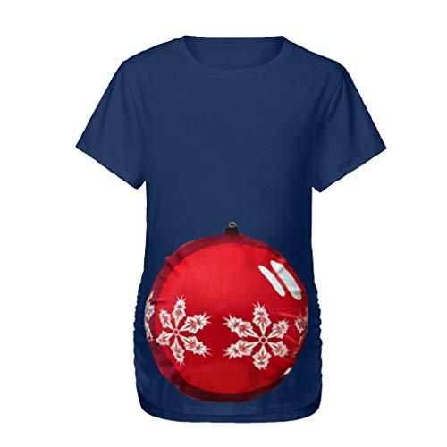 Ulanda-EU Umstandstop Sommer T-Shirt,Damen Weihnachten Kurzarm Oberteile Umstandsmode Lustiger Druck Umstandsshirt Stillen Kleidung Nursing Tops Stillshirt Schwanger Blusen