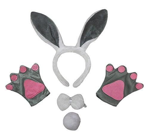 Petitebelle Grigio Bunny Fascia Papillon Tail Guanti feste in costume per adulti Grey Etichettalia unica