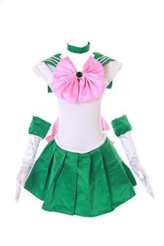 Kostüm Sailor Cosplay Jupiter - Kawaii-Story MN-H-6002 Jupiter Crystal Sailor Moon Grün Weiß Cosplay Kleid Handschuhe Set Dress Kostüm Costume (XL)