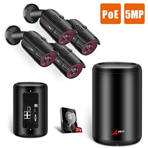ANRAN 5MP Poe Überwachungskamera Set 4 Kanal 1920P Kamera, 4 Outdoor 5-Megapixel PoE Sicherheit IP-Kamera, 5MP NVR mit 2TB Festplatte für, 24/7 Aufnahme, 100ft Nachtsicht, Freie Remote Ansicht