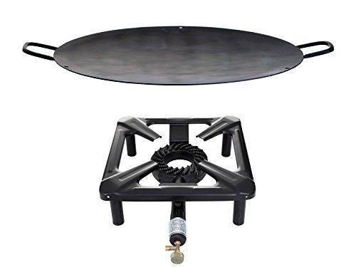 Hockerkocher mit 8.5 kW Leistung, Abmessung 40x40x17 cm und Eisenwok/Grillschale mit Ø 50 cm