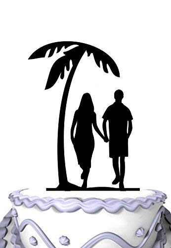 Wedding Cake Topper Palm Tree Beach Wedding Party Cake Topper, Ideal Gift, Personalized Cake Decor